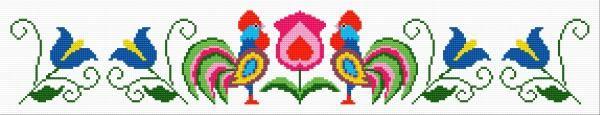 The pattern based on lowicki fashion (bird, cock, flowers, traditional, polish)