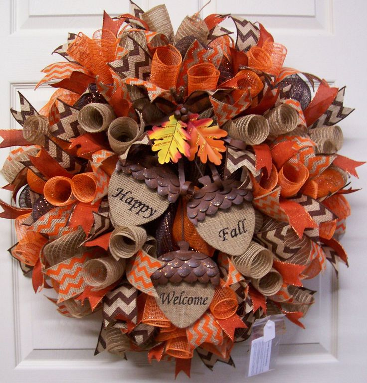 Fall Mesh Wreath,Fall Burlap Wreath,Fall Door Wreath,Happy Fall Wreath,Welcome Mesh Wreath,Autumn Wreath, by CherylsCrafts1 on Etsy