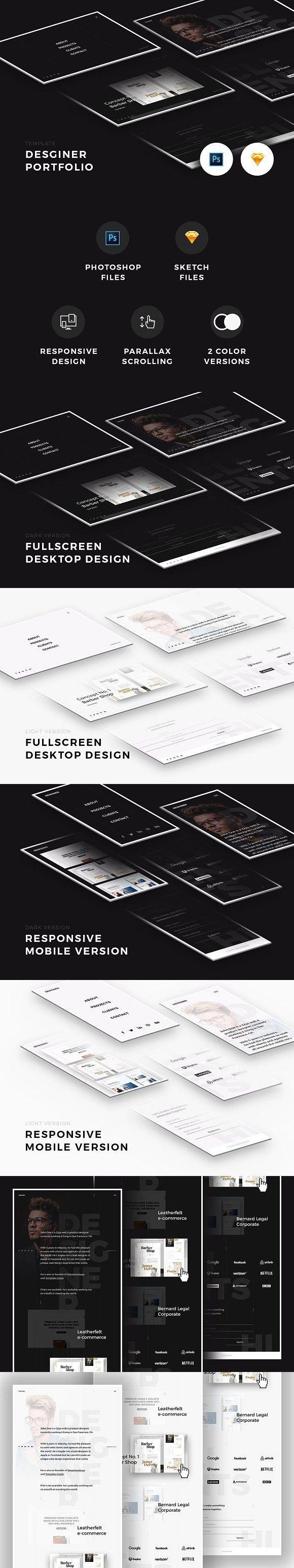 Designer Portfolio (PSD/Sketch) . Website Templates