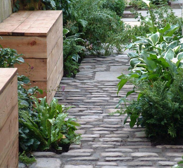 Cobble stones, plants, city garden