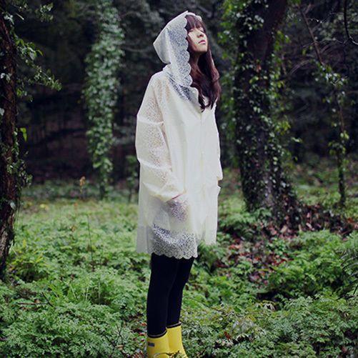 Hot Women Lace Print Hooded Raincoat Poncho Outdoor Waterproof Rain Jacket Coat #Unbranded #Rainwear