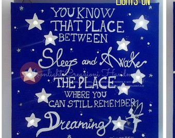 Check out 20x20 Hand painted canvas with warm white led lighting, Phrase inspired by Tinkerbell in the film Peter Pan - READ ALL on moonlightcreazioni