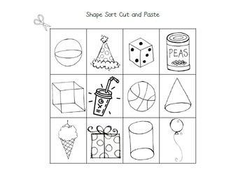 3 d shape sort cut and paste shapes pinterest. Black Bedroom Furniture Sets. Home Design Ideas
