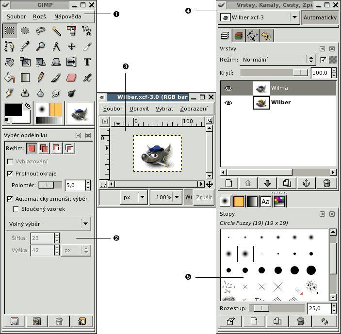 Hlavní okna GIMPu