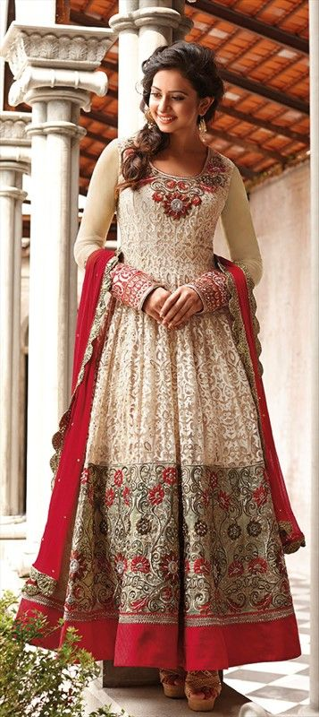 411258, Anarkali Suits, Bollywood Salwar Kameez, Brasso, Net, Resham, Stone, Zari, Thread, Beige and Brown Color Family