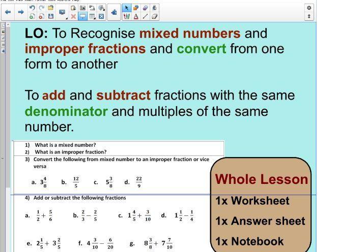 Adding improper fractions worksheet ks2