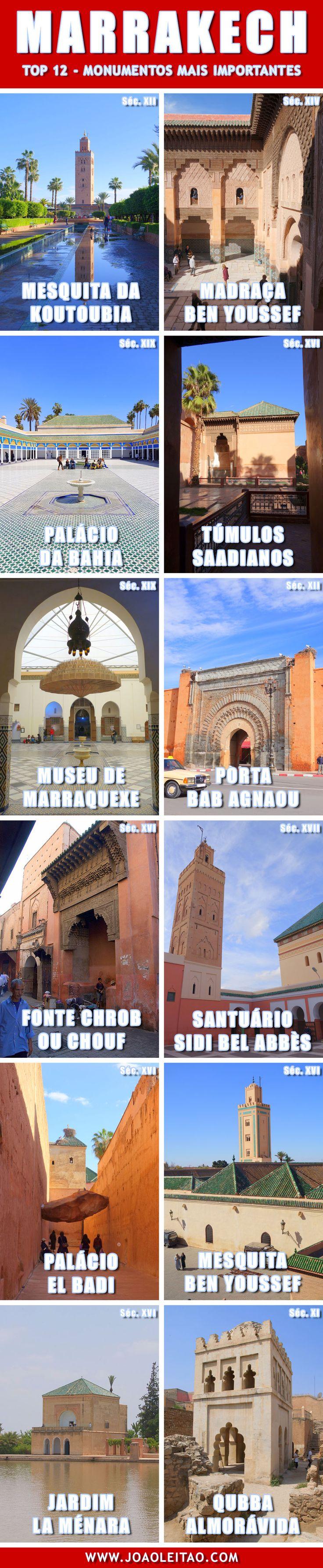 Marrakech Marrocos (Marraquexe) - Top 12 Monumentos mais importantes                                                                                                                                                                                 More