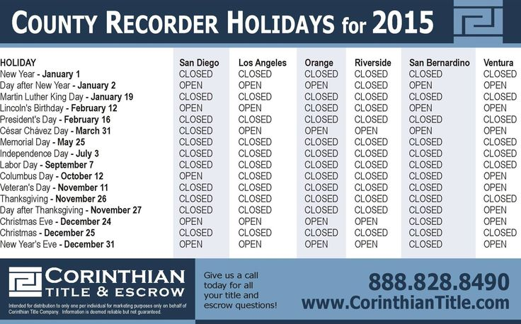 San Diego County Recorder Holidays For 2015 Www Corinthiantitle