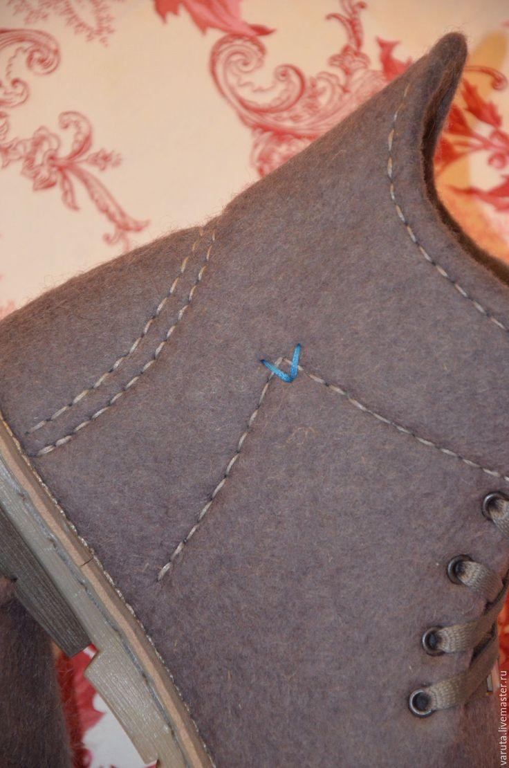 Купить Ботинки мужские валяные Туман в Лондоне - серый, Ботинки из войлока, ботинки мужские