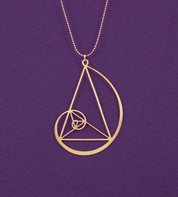 Golden spiral with golden triangle necklace- Fibonaci 24 Karat gold plated pendant- statement necklace by Delftia on Etsy https://www.etsy.com/listing/176225171/golden-spiral-with-golden-triangle