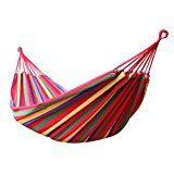 Enkeeo - Hamaca Colgante de Algodón para Jardín Camping (2 Cuerdas, Capacidad 150kg, 200 x 150cm) Multicolor