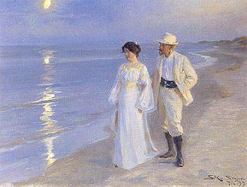 Måneskinsaften på Skagen Strand. Marie og P.S. Krøyer. 1899.