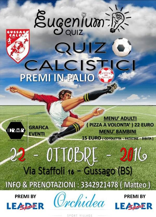 """Sabato 22 ottobre """"Cena quiz calcistici"""" - http://www.gussagonews.it/cena-quiz-calcistici-ottobre-2016/"""