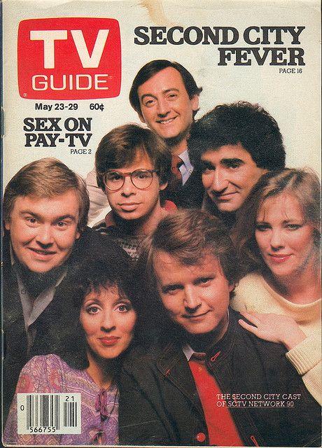 """May 23, 1981 [Canada] - Joe Flaherty, Rick Moranis, Eugene Levy, John Candy, Andrea Martin, Dave Thomas, and Catherine O'Hara  (NBC's """"SCTV Network 90."""")"""
