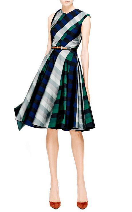 Paneled Spiral-Cut Silk Dress by Thom Browne - Moda Operandi