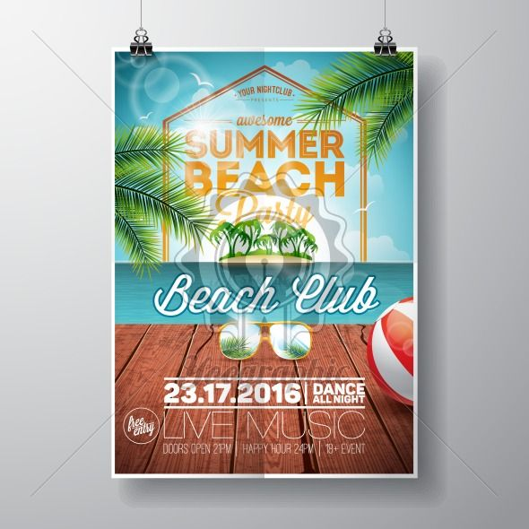 Vector Summer Beach Party Flyer Design with sunglasses on ocean landscape background. Typographic design on vintage wood. - Royalty Free Vector Illustration