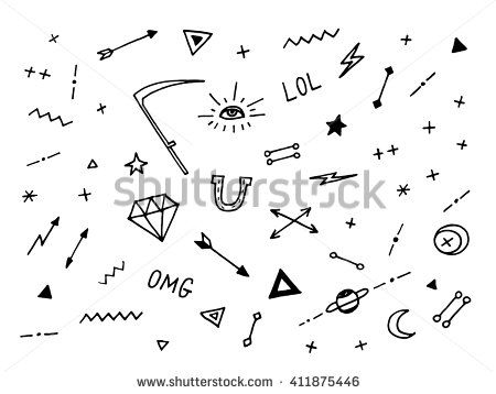 Set of drawn old school tattoo elements. Black and white. - stock vector