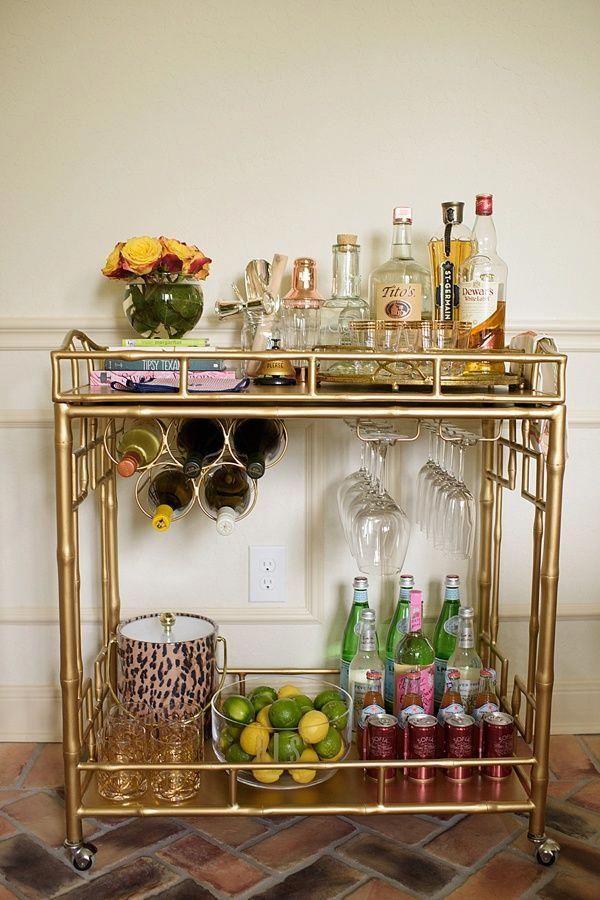How A Mid Century Chandelier Can Elevate Your Living Room Decor Unique Blog Gold Bar Cart Apartment Bar Bar Cart Decor