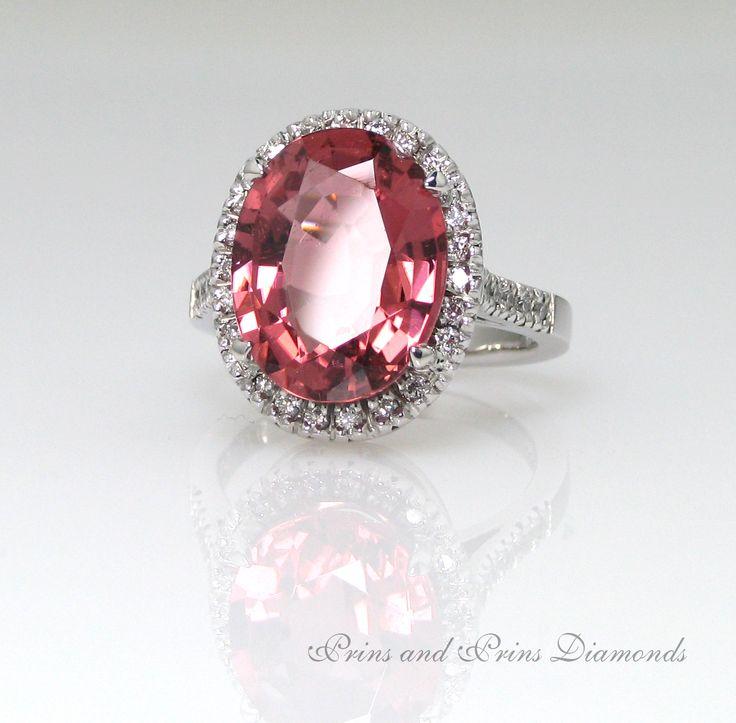 Oval Tourmaline and Diamond halo Cocktail Ring #ring #diamond #eyecandy #handmade