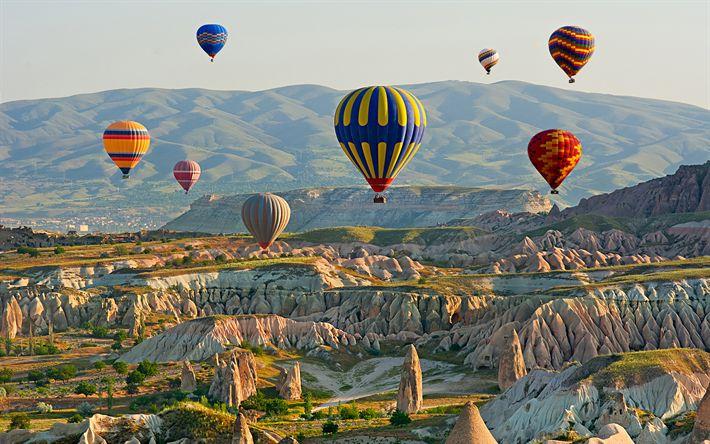 Hämta bilder Turkiet, kullar, ballonger, dalen