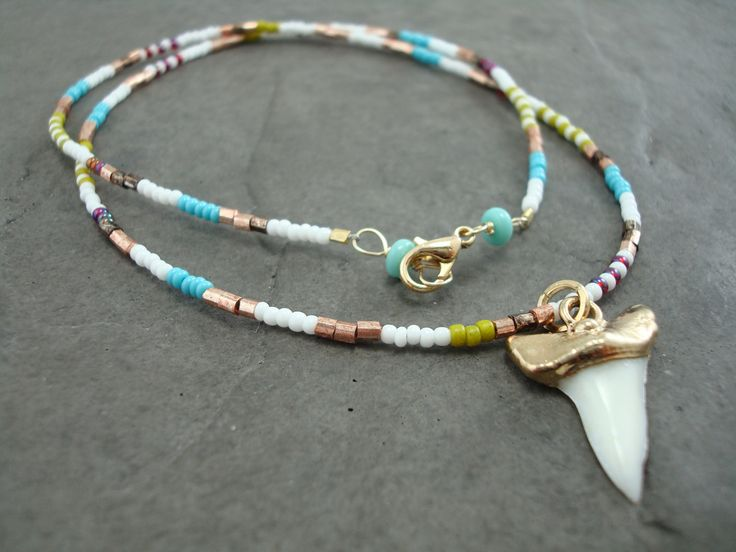 Shark tooth necklace gold shark tooth necklace bohemian necklace colorful boho necklace with shark tooth pendant