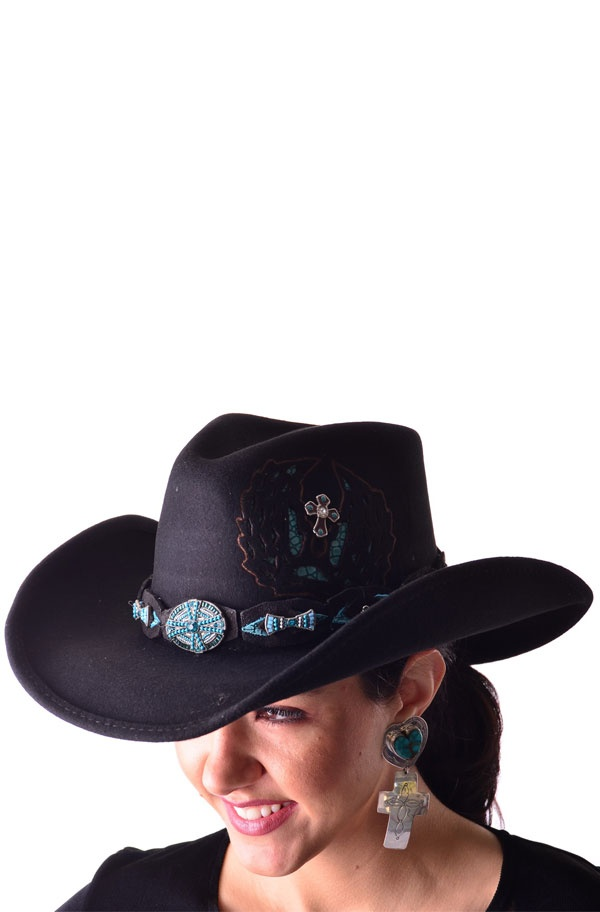 Black and Turquoise color hat is totally shapeable to suite the look you want. This hat has one of the most beautiful hatbands in Turquoise beads and rhinestoneswhich resembles a piece of jewelry. It has cut out and applique on the side which adds to the beauty of this hat. Once again a hat that can be worn for a Formal Western event or Western Wedding with one of our Black Gauchos or Western Skirts or Pants. The Brim is 3 3/4 and is 100% Wool.