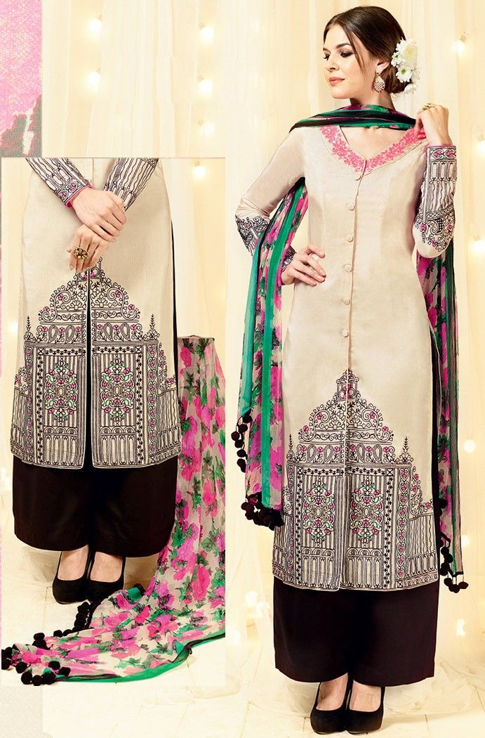Beige Satin Palazzo Suit with Dupatta - #Pakistani-Salwar-Kameez-Designs