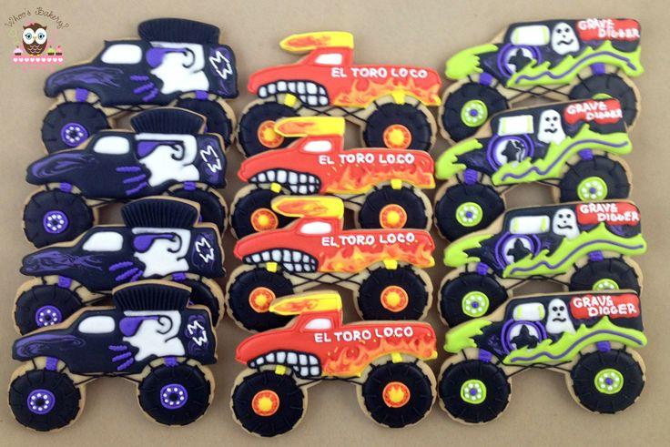 Monster Trucks, Monster Truck Cookies, El Toro Loco Cookies, Gravedigger cookies, Mohawk warrior cookies