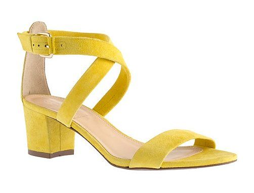 @J.Crew Gabby suede sandals ($198) strike just the right note in a bright lemon hue. #comfy #shoes