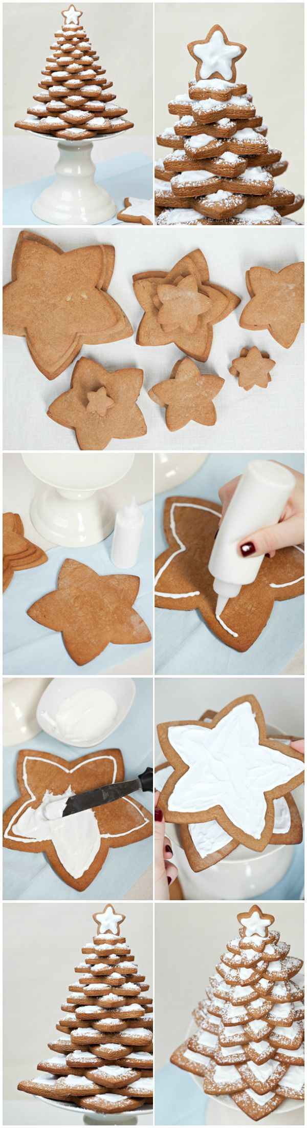 Step-by-step pictures. How to make and decorate your gingerbread tree.  Steg-för-steg bilder. Så här kan du göra när du bakar din egen kakgran...