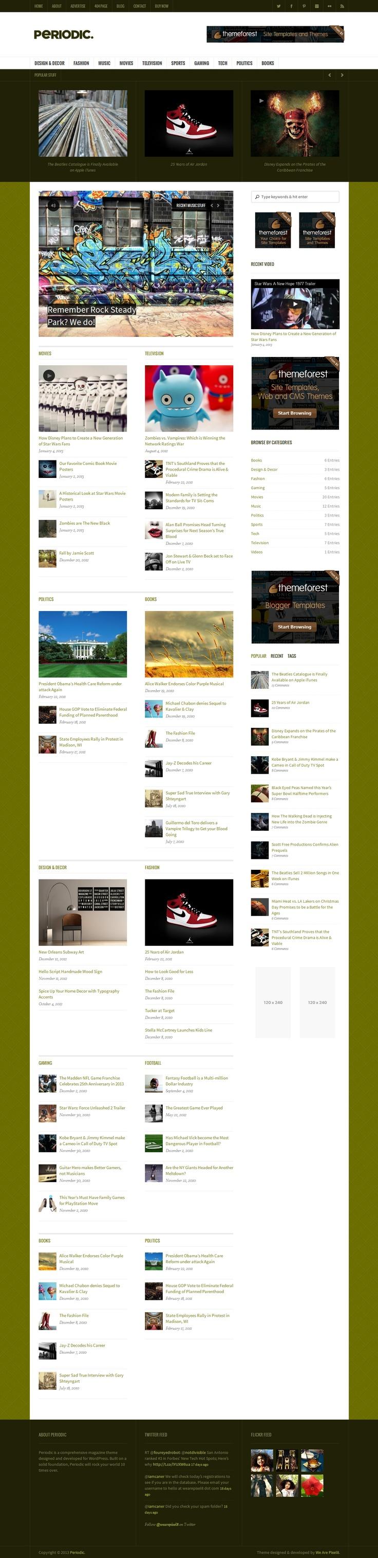 Periodic - индивидуальная премиальная тема для #WordPress, разработанная для онлайн магазинов, новостных порталов и крупных блогов.