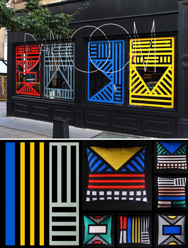 'Tribalala' Window installation and productcollaboration for super cool London store Darkroom, byCamille Walala.