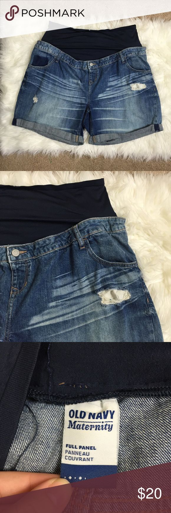 Maternity Distressed Jean Shorts Old navy maternity Jean shorts slightly distressed. Women's size 18. EUC Old Navy Shorts Jean Shorts