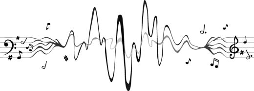 Vinilo decorativo musical pentagrama sinusoidal