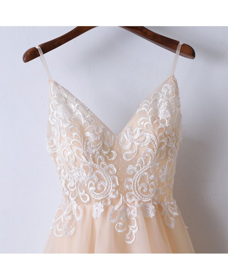 Shop affordable Boho Champagne Lace Long Prom Dress With Spaghetti Straps online. Custom-made any plus size or color. Pro since 2009.