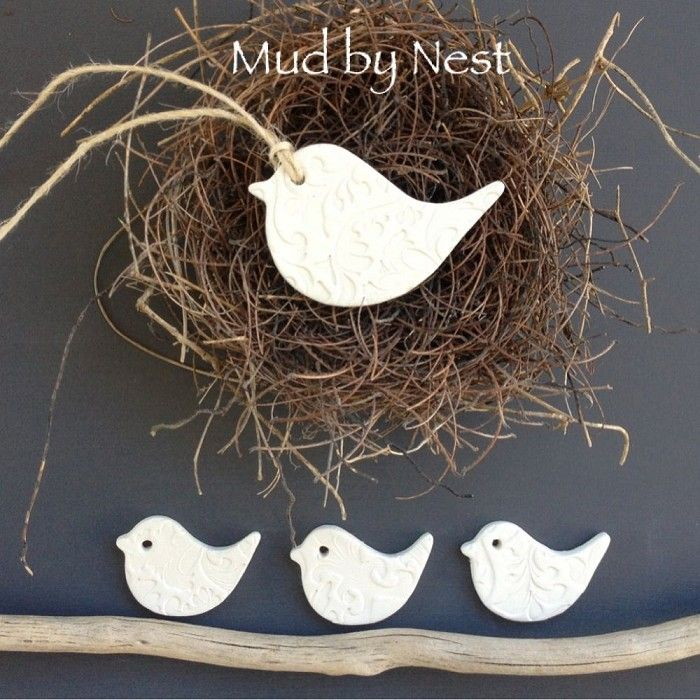 clay tags - embossed mud birds {set 4} - by mudbynest on madeit