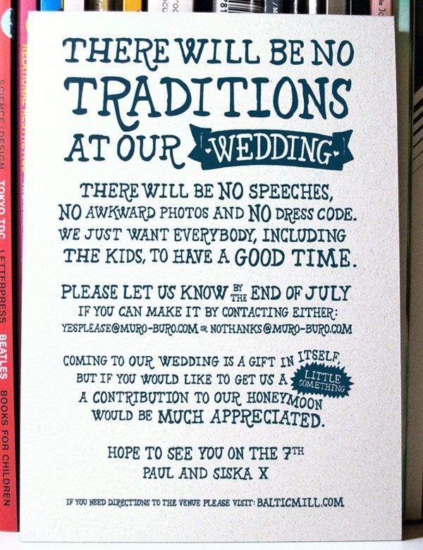 I like the frank tone, but there will be speeches and awkwardness is kinda a given w our friends... some might say they excel at it - for more advice on wording your wedding invitations visit http://www.bemyguest.co.nz/product/wedding-invitation-wording-guide/