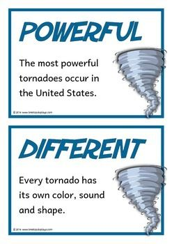 A set of 18 printable fact cards that give fun and interesting facts about tornadoes. Each fact card has a key word heading, making this set an excellent topic word bank/ word wall as well! Visit our TpT store for more information and for other classroom display resources by clicking on the provided links.