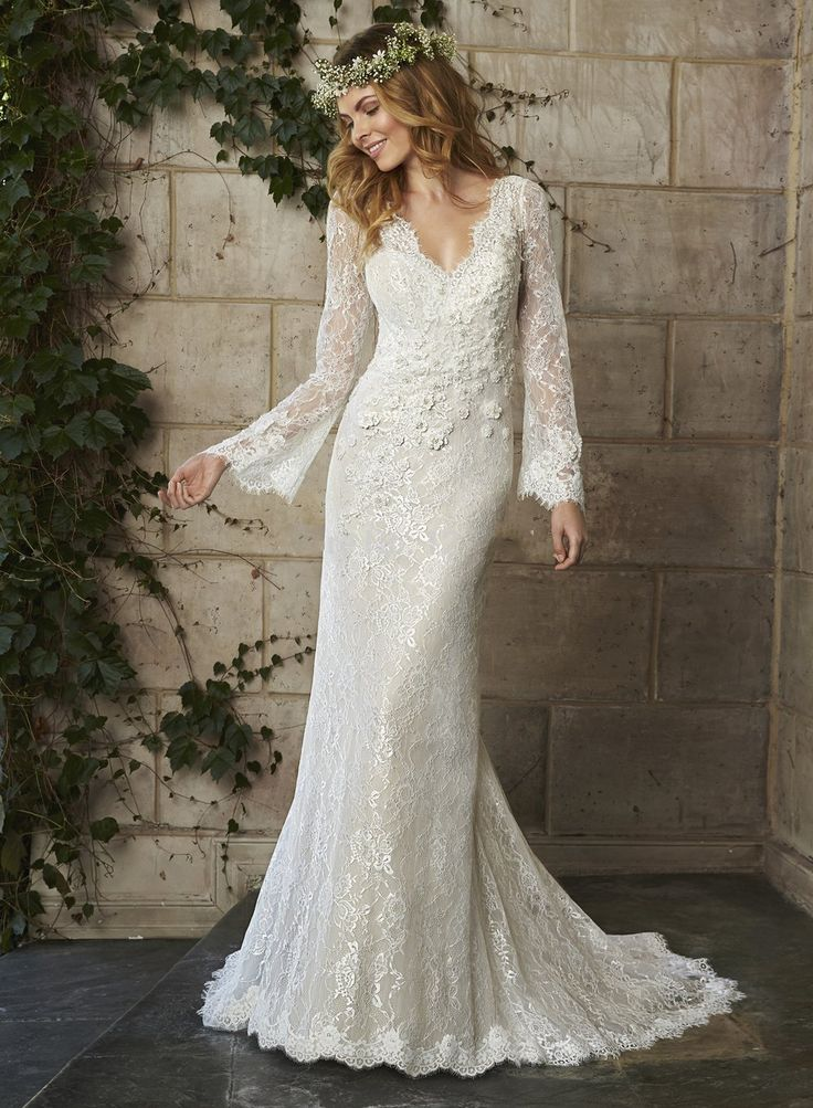 Cheap lace wedding gown, Buy Quality wedding gowns directly from China bohemian wedding Suppliers: 	Vintage Bohemian Wedding Dresses Full Sleeve V-Neck Mermaid Bridal Dress Sweep Train Lace Wedding Gowns Custom Made Plu