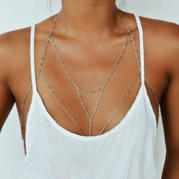Vintage Boho Summmer Gold Silver Plated Body Chain Jewelry women Multilayer Sexy Beach Bikini Harness Chain Necklace Women