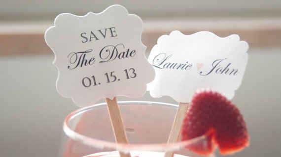 Save on postage and use save the date swizzle sticks. | 30 Swoon-Worthy Engagement Party Ideas
