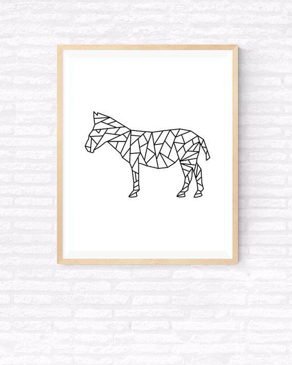 Geometrische Zebra Origami kunst afdrukbare door GabrielPrintables