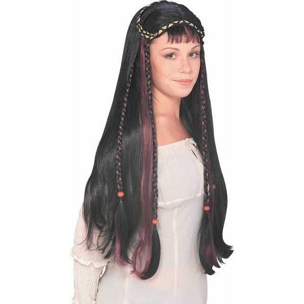 Fair Maiden Wig in Black Medieval Costume Wigs (145 SEK) ❤ liked on Polyvore featuring costumes, wig costume, maiden costume, womens costumes, ladies halloween costumes and ladies costumes