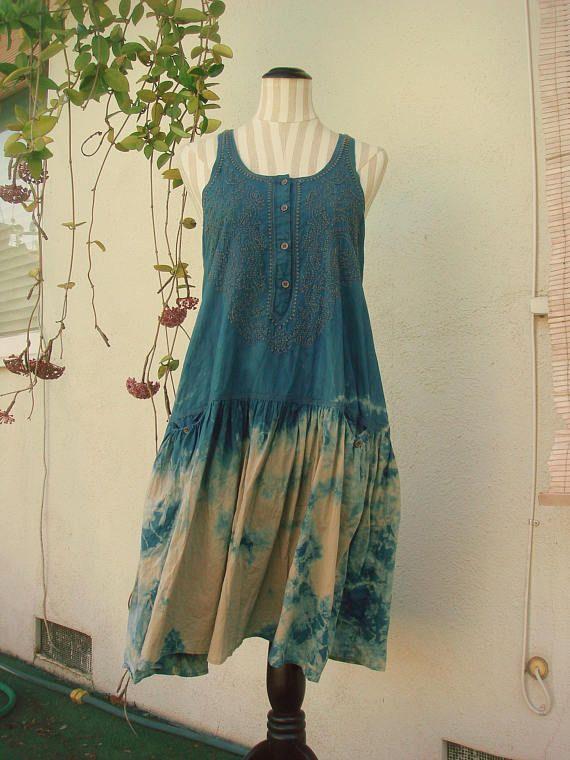 4f5976e4a9 ... pullover jumper with pockets size medium M. natural indigo hand dyed  hippie dress   dropwaist floaty flower child boho dress   bitsandblurbs DIY  on Etsy