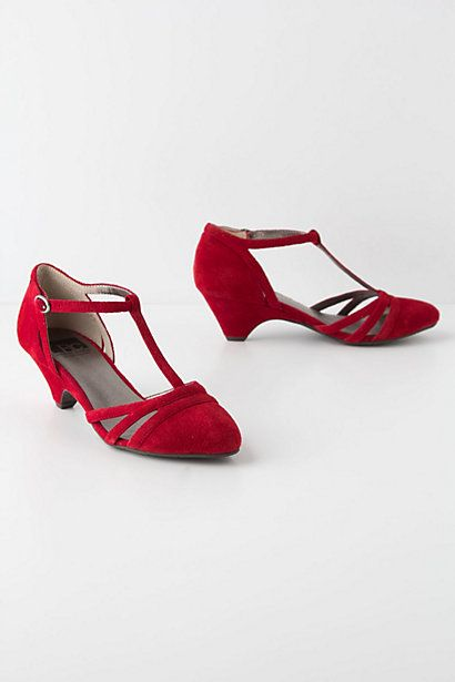 Only a few women can get away with wearing red shoes ;) | T-Strap Kitten Heels - Anthropologie.com