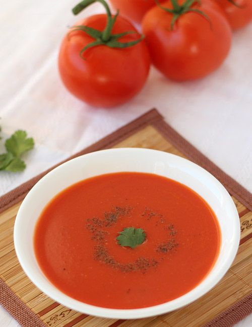 Thick and Creamy Tomato Soup - Added a small pieces of beetroot to get deep red color - step by step photo recipe