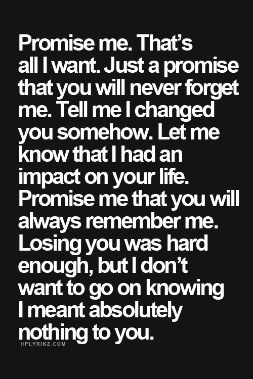 Promise me. That's all I want. Just a promise that you will never forget me. Tell me I changed you somehow. Let me know that I had an impact on your life. Promise me that you will always remember me. Losing you was hard enough, but I don't want to go on knowing I meant absolutely nothing to you.