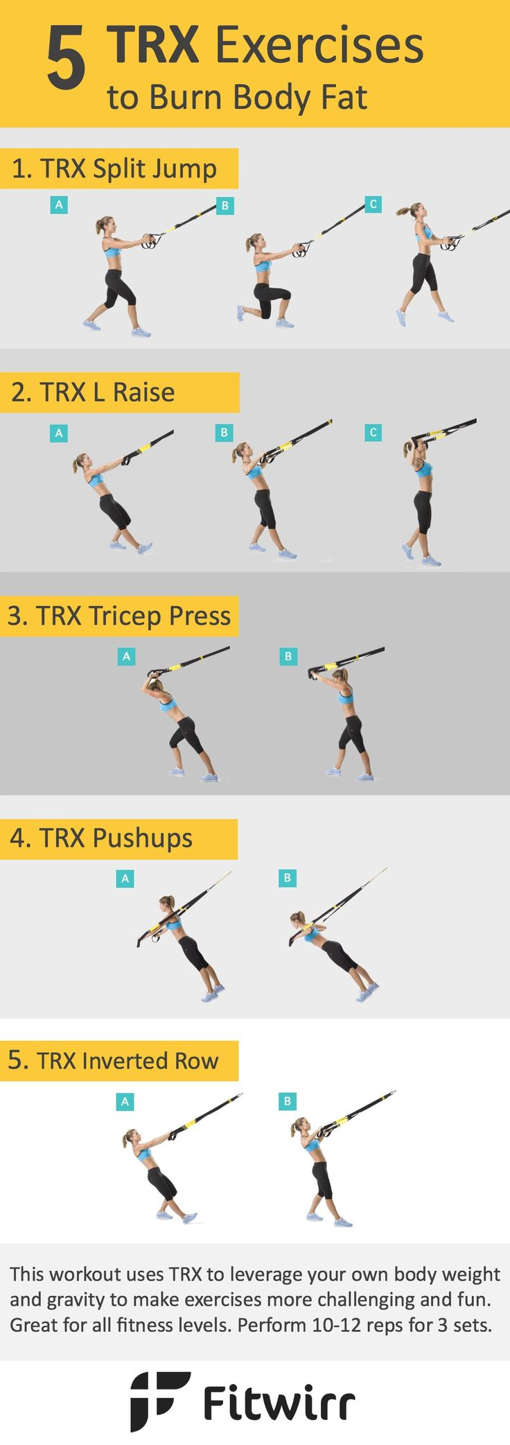 5 effective TRX exercises for a full-body workout. TRX (short for total-body resistance exercises) is a tool that leverages gravity and your body weight to turn bodyweight exercises like pushups and rows supper challenging and fun. Here are the top 5 TRX exercises for a full-body fat burning workout.