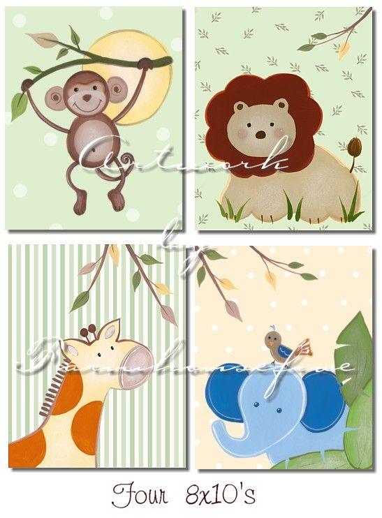 Jungle Safari Nursery Wall Art-This is so you Ashley Johnson! I had to pin this for ya!