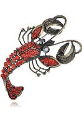 Vintage Repro Crystal drahokamu Lobster módní šperky Pin brož